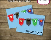 Super Hero (Justice League) Baby Shower Coordinating Thank You Card-Printable