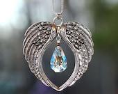 RARE VINTAGE Aurora Borealis KITE Pendant Angel Wings Suncatcher + Chain, mw Swarovski® crystal, Car Charm Home Ornament, Pearl Place N More