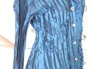 Sale Vintage Showy Holiday Crinkle Womens French Cut Dress Shirt Iridescent Royal Blue Rhinestone Buttons