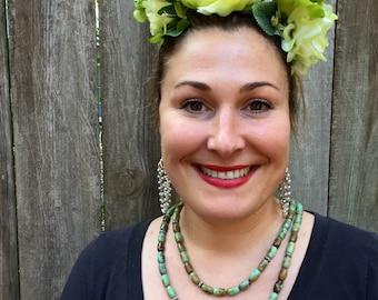 Romantic Frida Like Lime Green Floral Headband