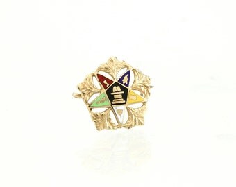 OES 10K Gold Pin Eastern Star Lapel Pin OES Brooch