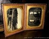 Double 1/4 Daguerreotype Set ~ Outdoor Logging / Bridge Scene + Architect