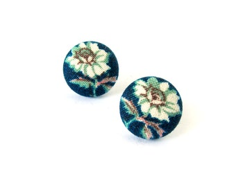 Blue stud earrings - floral button earrings - tiny fabric earrings - fall autumn gift for her