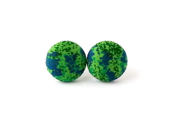 Tiny green blue earrings - blue button earrings - green fabric studs swirls indigo small