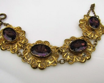 Czech Art Deco Amethyst Bracelet. Art Deco Rhinestone Gold Filigree Panel Bracelet. Czech Glass Great Gatsby Jewelry 1920s Antique Bracelet