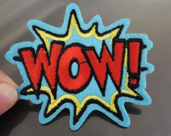 WOW Letter Patches - Iron on or Sewing on Patch Letter Patches Blue Red Patch Embellishments Embroidery fonts