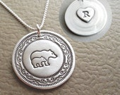 Personalized Mother and Baby Bear Necklace, Heart Monogram, Fine Silver, Sterling Silver Chain, Made To Order