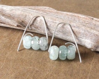 Aquamarine Earrings, Faceted Gemstone Beads, Handmade Sterling Silver Ear Wires, Ready To Ship