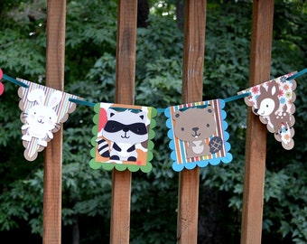 READY To SHiP Forest Banner Woodland Wildlife Enchanted Forest Birthday Forest Shower Woodland Birthday Woodland Shower Forest Decoration
