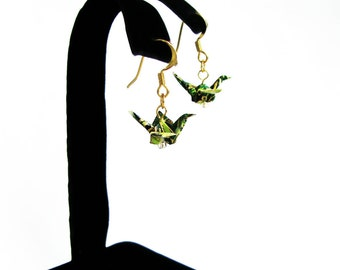 """Tiny Origami Crane Earrings Forest Green 3/4"""""""