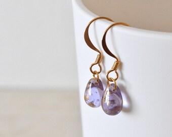 Lilac Earrings, Teardrop Earrings, Glass Drop Earrings, Violet Earrings, Lilac Jewellery, Gift For Her, UK Earrings