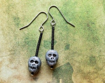 Halloween - Skull Earrings - Hypoallergenic - Day of the Dead - Drop Earrings - Skull Jewellery