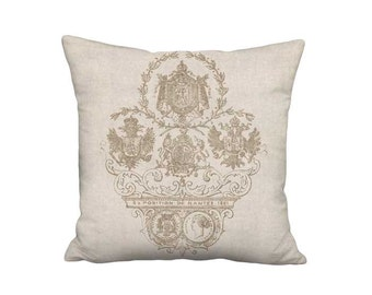Pillow Cover - Pillow - Exposition Nantes Linen Cotton Beige French Country Decor - 16x 18x 20x 22x 24x 26x 28x 30x 32x Inch Cushion Cover