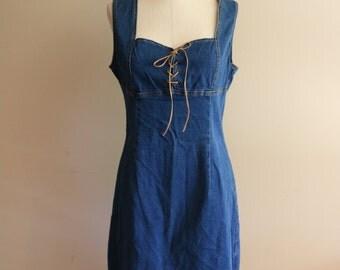 90's Vintage Corset Denim Dress - Size 13 - Grunge - Summer Sundress