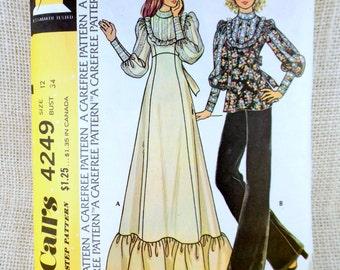 Vintage 1970s sewing pattern McCall's 4249 Bust 34 Prairie dress edwardian leg o mutton Puffy sleeves Wench Renaissance Ren faire Dirndl