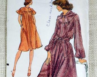 Vogue 9268 Bust 32.5  Dress Pattern Vintage Flutter sleeves yoked Bust 32.5 Belted Tent Pockets 1970s
