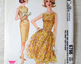 Vintage Pattern McCall's 6766 dress sewing Full skirt 1960s Rockabilly Bust 31 Fit and Flare wiggle dress Curved seam bodice