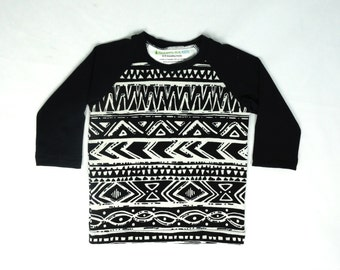 Unisex baby clothes, long sleeve black & white aztec baby shirt, gender neutral baby gifts, baby boy girl clothes