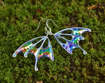 Purple Fairy Wing Earrings, Handmade, Blue Fairy Wing Earrings, Star Sprite, silver earrings, OOAK