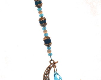 Moon & Crystal Ornament Blue Hanging Beaded Crystal Feng Shui Sparkles Crescent Moon