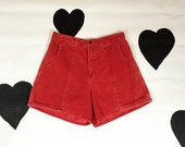 """80's high waist red corduroy shorts 1980's classic preppy high waisted shorts / cargo / hiking / 70's / short / elastic 30"""" waist / L large"""
