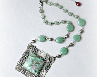"Sterling Silver stone necklace with Ruby Fuschite and Green Aventurine ""RoseGarden"", artisan stone necklace, unique stone necklace, gift"