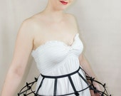 Black color Crinoline hoop cage skirt pannier 3 rows and ribbon, elastic waist simple cage