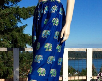 70s Bohemian Hippie India Block Print Pants