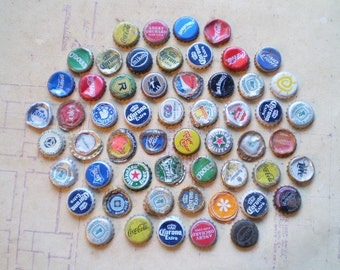 56 Salvaged Metal Bottle Caps - Found Objects for Assemblage, Altered Art or Mixed Media