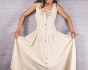 80s/90s Khaki Ultra Femme Summer Dress W/ Mesh inlays//// size 12///Medium