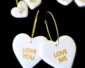 SALE - Valentine's Day Gift, Love you & Love me Porcelain Heart Earrings, Ceramic Heart with 22k Gold Love you, Love me Earrings