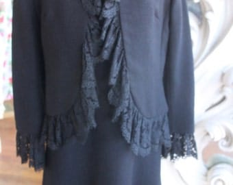 Vintage 1970s Little Black Dress with Lacy Lacey Jacket 34 Bust