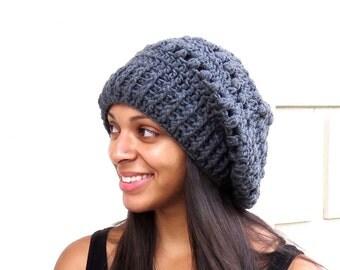 Crochet Slouchy Hat, Tam, Hippie, Women, Men, Teen, Tam, Color Charcoal
