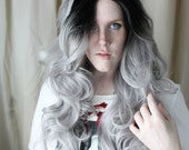 Gray Lace Front Wig | Long Black Roots wig | Grey with Black Roots Lace Front wig | Scene Emo wig | Black Dove