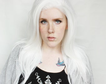 SALE White Lace Front Wig | Long Wavy White Wig | Lace Front wig | Luminary Glow
