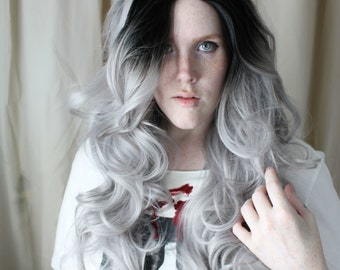 SALE Gray Lace Front Wig   Long Black Roots wig   Grey with Black Roots Lace Front wig   Scene Emo wig   Black Dove