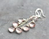 Rose Quartz Earrings Long Dangle Earrings, Pink Romantic Jewelry, Sterling Silver