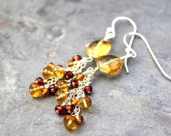 Citrine Earrings Garnet Cascade Cluster Beaded Gemstones Sterling Silver November Birthstone