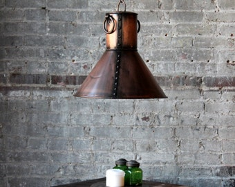 The Verne Light Fixture Reclaimed Metal Antique Copper Finish Pendant Light Commercial Fixture Boho Industrial