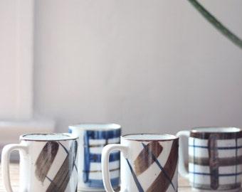 vintage Japanese pottery mugs, set of four