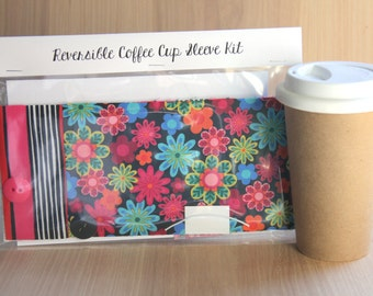 DIY Coffee Cup Sleeve Sewing Kit - Bright Flowers and Stripes - Ready to Ship