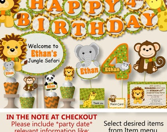 Safari Birthday Party Decorations, Jungle Birthday Party Supplies, Favor, Banner, Cake Topper, Lion, Elephant, Monkey, Hippo, Panda, Zebra