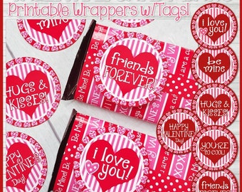 Valentine CHOCOLATE BAR Wrapper, Candy Bar Treat, Gift Idea - Printable Instant Download