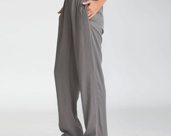 Gray Trousers, women pants, elastic waistband pants, cotton pants, Casual Pants, casual, Loose fit pants, wide legged pants