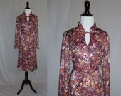 70s Purple Floral Dress - Granny Flower Garden - Ruffle Trim - Sherri Lynn - Vintage 1970s - M L