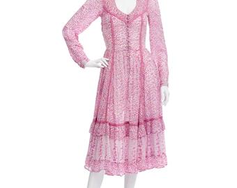 Vintage 70's Rare Indian Adini ETHNIC Floral Cotton Gauze Empire Waist Hippie Boho Ruffled Trim Tiered Skirt Festival Midi DRESS