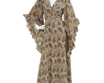 Vintage 70's Earthy Paisley Print RUFFLED Trim Angel Sleeves Fitted Empire Waist Hippie Bohemian Festival Maxi DRESS