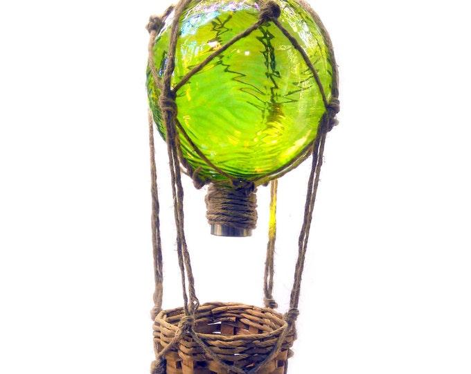 Hot Air Balloon Solar Light, Gazing Ball, Handblown Glass Globe, Hanging Plant Basket, Balloon Festival Decoration, Stained Glass Window Art