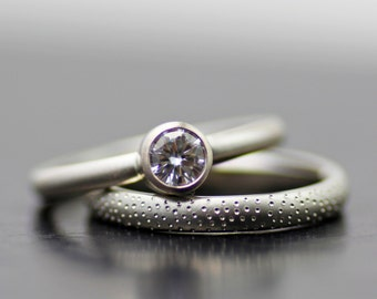 Modern engagement ring  stacking wedding band set  white gold moissanite  ring  wedding ringuncommon jewelry  modern wedding rings  forged by hand by lolide. Modern Wedding Bands. Home Design Ideas