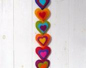 Colorful felt hearts wall hanger / door hanger - 8 stuffed hearts